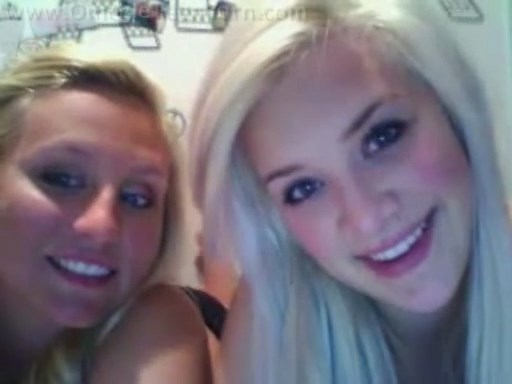 Two blonde coeds flashing on Chatroulette